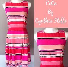 CeCe By Cynthia Steffe Sheath Dress Size 2 Womens Pink Stripe Pleated Sleeveless