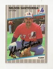 1989 FLEER NELSON SANTOVENIA AUTO AUTOGRAPH CARD #393 SIGNED IN PERSON EXPOS