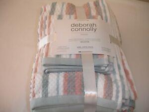New! Beach Stripe Bathroom Bath Towel Hand Towels Washcloths Set Terry Cotton