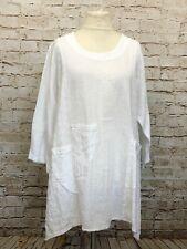Moonshine Fashion Tunika 50%Leinen Shirt Lagenlook Übergröße 44 46 48 Neu weiß