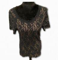 Soma Intimates Womens Blouse Black Floral Lace Short Sleeve Scoop Neck Top XL