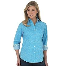 Wrangler George Strait For Her Button Down Turquoise Floral Print Top LGS521M