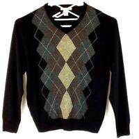 Geoffrey Beene Mens L Sweater Argyle Black Gray Brown Long Sleeve V Neck Acrylic