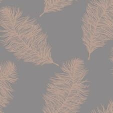 FAWNING FEATHER WALLPAPER ROSE GOLD / GREY - HOLDEN DECOR 12629 METALLIC