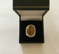 Beautiful Vintage Sterling Silver Tiger's Eye Solitaire Ring - Size Q