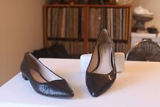 Pour La Victoire Riva Black Snake Leather Pointed Toe Loafers Flats Size 8.5 M
