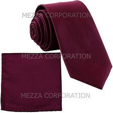 New formal men's necktie & hankie set solid color polyester wedding dark purple