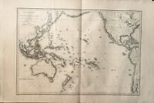 Engraved H.Brie Hand Color Map 1814 Oceania Australia Malaysia New Zealand