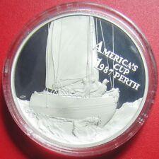 1987 SAMOA $10 TALA AMERICA'S CUP RACE PERTH 1oz SILVER PROOF SAIL BOAT SEALED!
