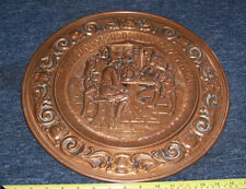 "Vintage retro copper wall plaque medieval scene approx 16"" wide used"