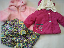 NICE BRANDS4x WINTER AUTUMN BUNDLE BABY GIRL JACKET COAT FUR HAT 18/24 MTHS(1.2)