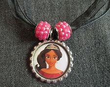 Elena of Avalor Latina Princess Ribbon Bottle Cap Bling Charm Necklace Pink Bead
