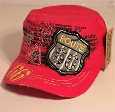 1f2e0989e0c Classic Route 66 Embroidered with Rhinestones Beads Vintage Distressed  Cadet Hat