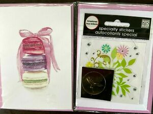 Papyrus French macarons blank note card watercolor & glitter, gem Stickers Bling