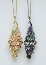 Two New Peacock RHinestone Pendant Necklaces from Target nwt #N0012-13