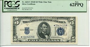 FR 1654* STAR 1934-D Wide I $5 SILVER CERTIFICATE 62 PPQ NEW