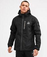 KWD Kings Will Dream Mens New Hooded Full Zip Windbreaker Jacket Avell Black