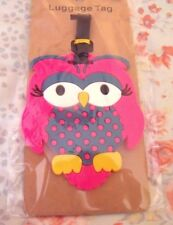 """NEW Bright PINK OWL LUGGAGE TAG Silicone Rubber 4"""" Travel EASY TO FIND!"""