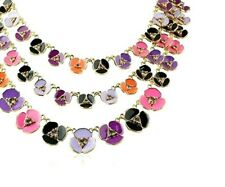 Kate Spade Disco Pansy Necklace NWT BEautiful Triple Strand Colorful Pansies
