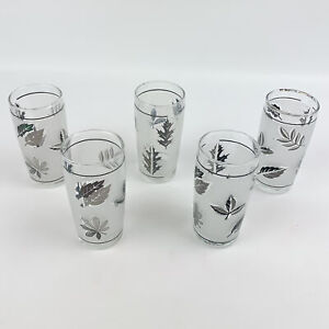 Libbey MCM Frosted Silver Leaf Autumn Foliage Juice Glasses - Lot of 5