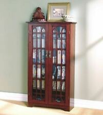 Cherry Finish Wooden Media Cabinet 6 Shelf CD DVD Storage Tower Glass Door Stand