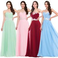 Women Long Masquerade Evening Bridesmaid Strapless Dress Ball Wedding Party Gown