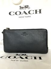 NWT Coach Double Zip Wristlet In Black Leather With Gold Accents-F54056