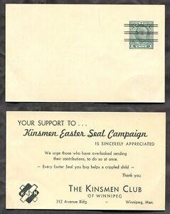 p1454 - Canada #P166c 1938 PRECANCEL Postal Card. Winnipeg Easter Seal Campaign✉