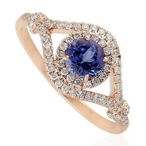 1.06ct Round Shape Blue Tanzanite Diamond Band Ring 18k Rose Gold Women Jewelry