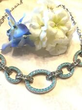 Rhinestone Chain Link Necklace💛💛 New💛Shoshanna Qvc💛 faux Turquoise &