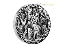 2 $ Dollar Norse Goddesses Frigg High Relief Tuvalu 2 oz Silber Silver 2017