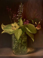 """Wildflowers Antique Jar"" NOAH VERRIER Still life oil painting, Signed art print"