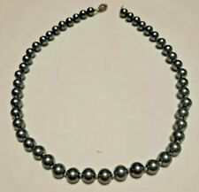 """18"""" Silver Gray Sea Shell Pearl Necklace 8mm Beads Hand Knotted"""