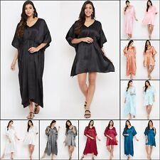 Gypsie Blu Women Satin Kaftan Tunic Summer Maxi Sundress Casual Beach Dress Set