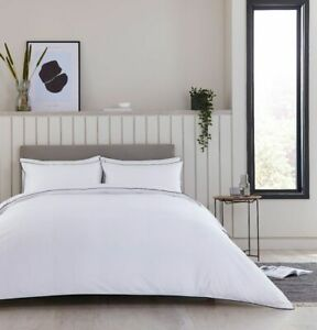 Exclusive Duvet Cover - 360TC - Egyptian Cotton - White/Black Piping Queen Size