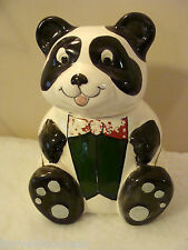 Weiss Cookie Jar Hand Painted Panda Bear Brazil VINTAGE Signed