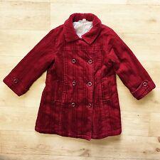 VERTBAUDET MILA BLUE fille rouge doublé en velours côtelé Manteau age 4 ans
