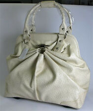 Cream Ostrich Print Ladies Travel Handbag extendable handle & 2 wheels Holdall