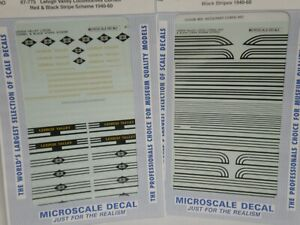 HO Microscale Decals 87-775 & 87-776 Lehigh Valley Cornell Red & Black scheme LV