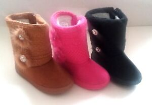 Infant Toddler Girls Pink Brown Dress Winter Casual Boots Shoes sz 7 10*