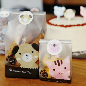 10-100X Cute Dog Cello Cellophane Party Candy Sweet Cookie Gift Bags & Stickers