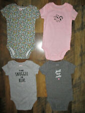 Carter's Lot Of 4 Tops Infant Girls Size 3 Months Short Sleeve Gray & Pink