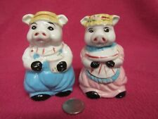Anthropomorphic Farmer Pig Couple Salt and Pepper Shakers Ceramic 76