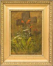 NATURALIST ELEONORE TSCHERNING 1817–1890 »KLATSCHMOHN AM GRABKREUZ« 40 X 32 cm