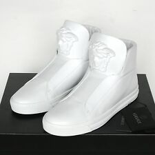 VERSACE white Palazzo medusa head shoes leather slip on hi top sneakers 39 NEW