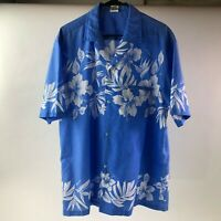 ROYAL CREATIONS *Made In Hawaii* Mens Floral Blue/White Hawaiian Shirt Size XL