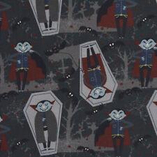 Baumwollstoff GOTS Bio Popeline Halloween Dracula grau rot blau 1,50m Breite
