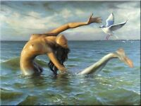 "Beautiful~! Modern Art OIL PAINTING ART""Mermaid""ON CANVAS 24X36 INCH"