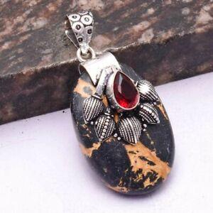 "Black Cooper Turquoise Garnet Ethnic Handmade Pendant Jewelry 1.92"" AP 46126"