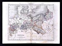 c 1849 Archer Map Prussia Germany Berlin Breslau Westphalia Saxony Danzig Poland